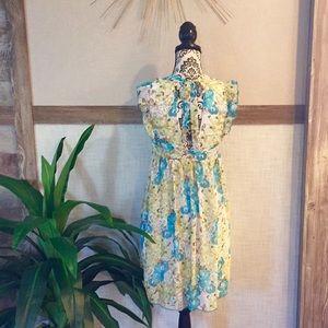 XOXO Flutter Sleeve Open Back Floral Dress